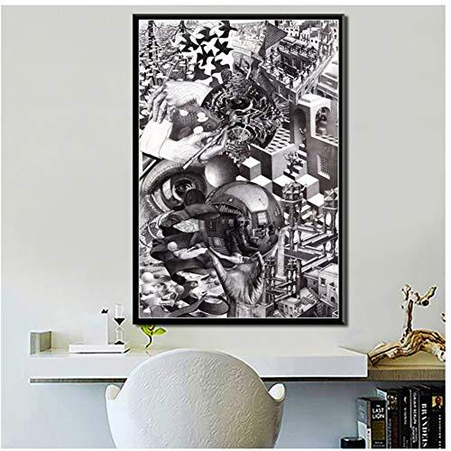 A&D Dekor Escher Surreal Geometrisch Abstrakt Kunstwerk Moderne Kunst Wandkunst Leinwand Gemälde Plakatdruck auf Leinwand -50x70cm Ohne Rahmen