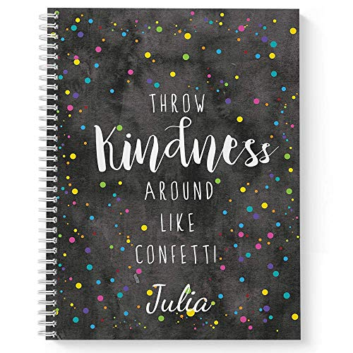"""Confetti Personalized Motivational Notebook/Journal, Laminated Soft Cover, 120 pages of your selected paper, lay flat wire-o spiral. Size: 8.5"""" x 11"""". Made in the USA"""