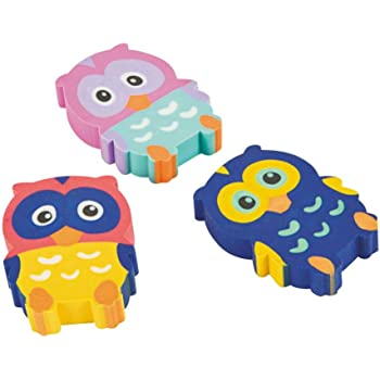 Fun Express Owl Eraser - 24 Pieces - Educational and Learning Activities for Kids