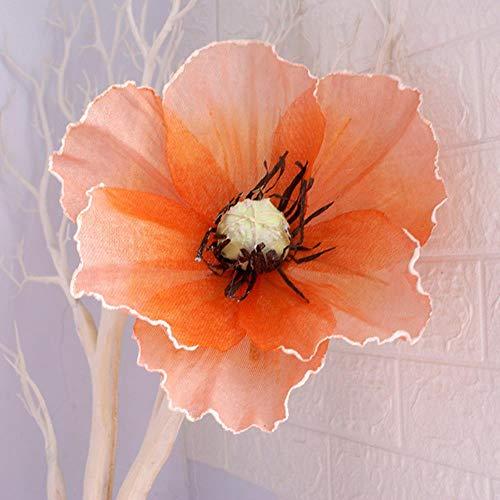 Kunstmatige Klaproos Bloemen Bruiloft Nep Grote Bloem Muur Achtergrond Display Weg Leiding Winkelcentrum Raamweergave Schieten Props, Oranje, 40cm