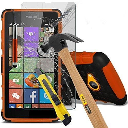 Nokia Lumia 735 Custodia di qualità premium, resistente, a prova d'urto, solida protezione con cavalletto, vetro temperato infrangibile protezione schermo e stilo - Arancione