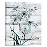 Visual Art Decor Abstract Teal Dragonfly with Dandelions Rustic Wood Texture Background Canvas Wall Art Prints Gallery Wrapped Picture Ready to Hang for Home Office Bedroom Living Room Wall Decoration