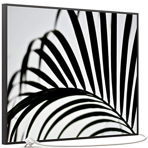 STEINFELD Bild Infrarotheizung mit Thermostat | Made in Germany | viele Motive 350-1200 Watt Rahmen schwarz (500W, 046 Palmblatt)