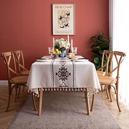 Mantel rectangular a prueba de derrames, a prueba de encogimiento, mantel resistente a las arrugas, para cocina, comedor, fiesta, decoración de mesa 135 x 220