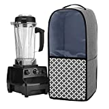 Yarwo Visible Blender Dust Cover with Pockets and Top Handle, Compatible with Vitamix Blender Classic C-Series 5200, 6300, PRO 500, Gray with Grid (COVER ONLY)
