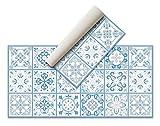 Alfombra Vinílica Hidráulica (120 x 60 cm, Azul) - Distintos Colores y tamaños - Alfombra Cocina, baño, salón Comedor - Antideslizante - Alfombra Dormitorio - Goma esponjosa y Suelo PVC