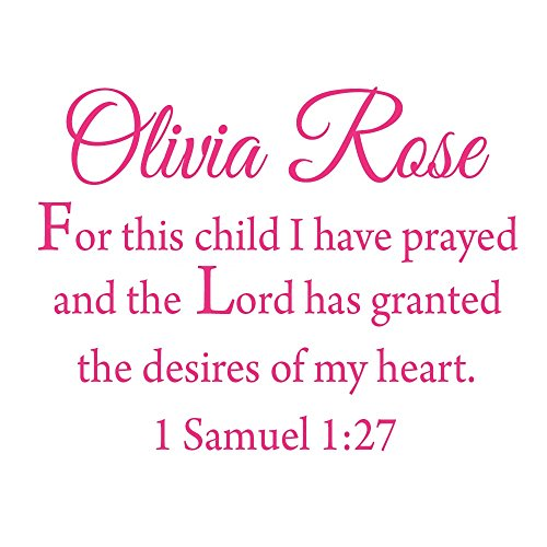 For This Child I Have Prayed Custom Wall Decal - Insert Name - Personalized Name Decal Nursery Kids Room Decor VWAQ-CS4 (22'W X 17.5'H, HOT PINK)