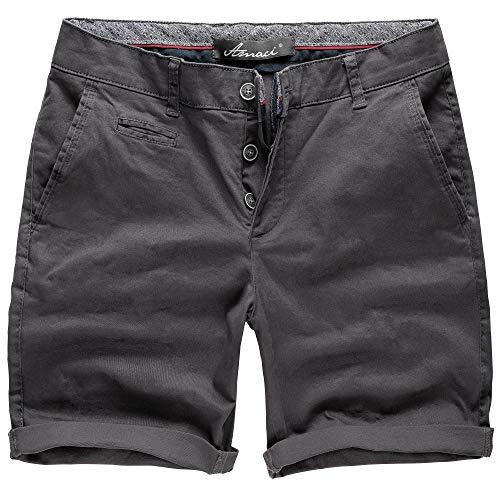Amaci&Sons Herren Chino Shorts Kurze Bermuda Hose mit Strech Regular Fit 7013 Anthrazit W34