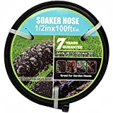 Meifeng Soaker Hose with Connectors and Fittings 1/2in Diameter 100ft Black Garden Water Hose Flower Beds and Lawns Lightweight Porous 1/2in100ft Hose