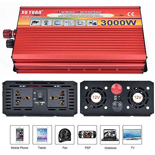 Inverter 3000 W (Picco 3000 W) 12v 220v Onda Pura DC 12 V 24V A AC 110~230 V Convertitore per Uso Domestico per Auto Lavatrice Viaggio per convertitore di frequenza Campeggio,12vTo220v