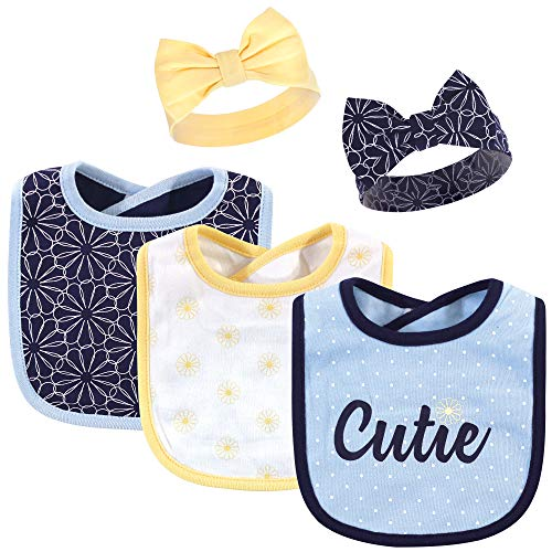Hudson Baby Unisex Baby Cotton Bib and Headband Set, Blue Daisy, 0-9 Months