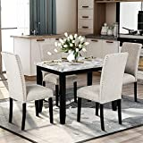 DKLGG 5 Pieces Dining Set, Faux Marble Kitchen Tables with 4 Upholstered Fabric Chairs Perfect for Home, Breakfast Nook, Bar, Living Room, Beige