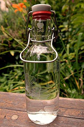 Freiglas 0,5l Trinkflasche aus Glas *Ginkgo* 100% plastikfrei, Nachhaltig, Made in Freiburg