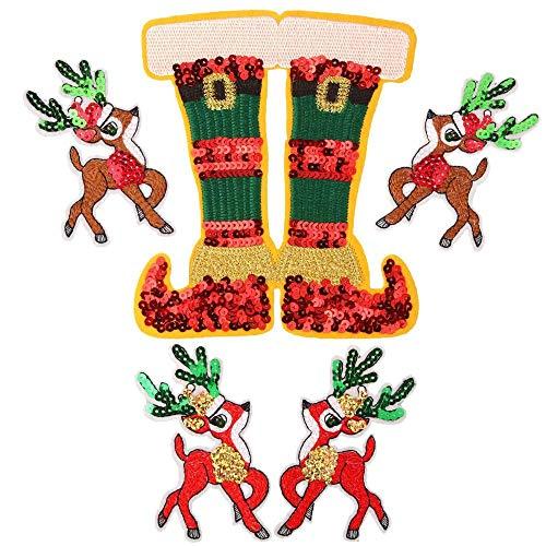 LZHLMCL Parche De Jeans Con Apliques 5 Uds Zapatos De Ciervo De Navidad Capítulo Bordado Pegatinas De Cloh Accesorios Decorativos Con Lentejuelas Para Ropa