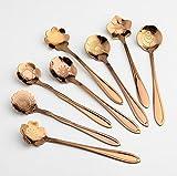 Monbedos - 8 cucchiaini da caffè, zucchero, gelato, idea regalo, per cucina creativa, motivo: fiori, in acciaio INOX Rose Gold