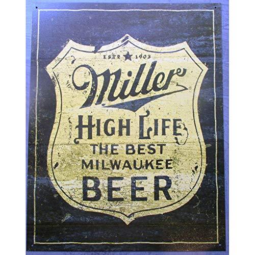 hotrodspirit – Placa de Cerveza Miller The Best Milwaukke Beer 41 x 32 cm, Chapa Decorativa