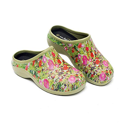 Backdoorshoes Waterproof Premium Garden Clogs with Arch Support-Poppy Design (10) Green