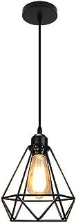 Mengjay Vintage Loft Jaula de hierro negro Lámpara de techo Luz de metal nórdico Industrial Luz Colgante Retro Luz de Techo para Dormitorio Barra de pasillo E27 Luminaria de techo geométrica