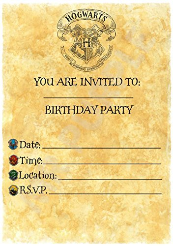 Harry Potter Birthday – invitaciones para fiestas – Carta de Hogwarts Tema accesorios de fiesta/accesorios (Pack de 12 invitaciones A5) WITHOUT Envelopes