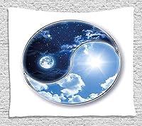Jocarタペストリー宇宙のタペストリー、陰陽世界と月と太陽の調和アートプリント絶妙な創造的な家の装飾壁掛けタペストリー150x230cm