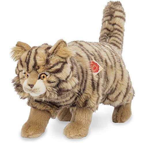 Teddy Hermann 91827 Wild-Katze stehend getigert 36 cm, Kuscheltier, Plüschtier