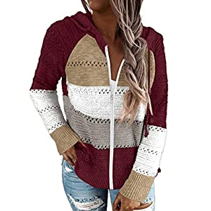 Women's Lightweight Color Block Hooded Sweaters Drawstring Long Sleeve Hoodies Knitted Pullover Sweatshirts