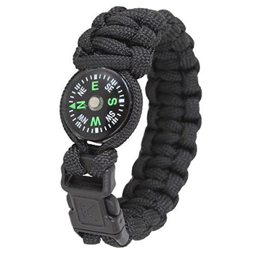 Paracord kompas survival armband zwart maat L 9' (lengte 23cm) sieraden #13407