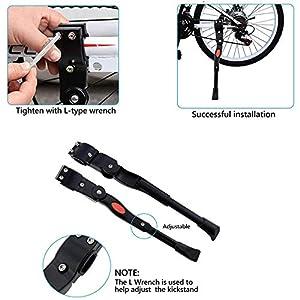 Q-WOOFF Pata de Cabra para Bicicleta Ajustable, Adecuado para Bicicletas, Bicicletas de Carretera, Bicicletas Plegables, Bicicletas de montaña con diámetros de Rueda de 24-26 Pulgadas