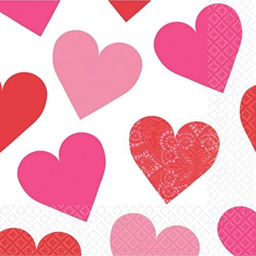amscan 16 Servietten Key to Your Heart, Papier, Weiß/Rosa, 12