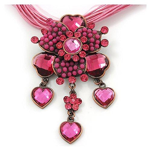 Collar de cuerdas de cordón de algodón con colgante de flor de diamantes fucsia/rosa, estilo vintage, de bronce, 38cm de largo, 7cm de extensión