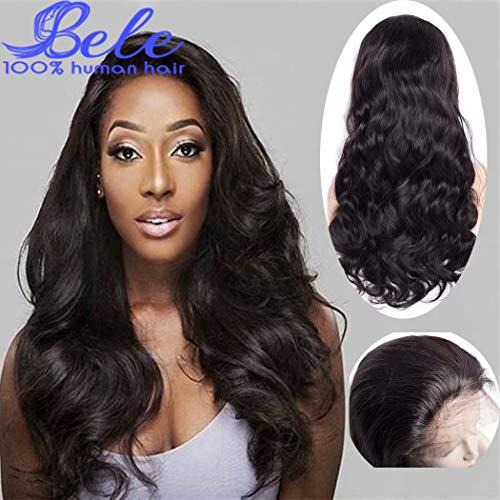 Bele 10A Body Wave Perruque En Dentelle Avant 180% Densité Pré-Cueillie Dentelle Brésilienne Frontale Perruques Humain Vierge Cheveux Pour Les Femmes Noires 12 pouces