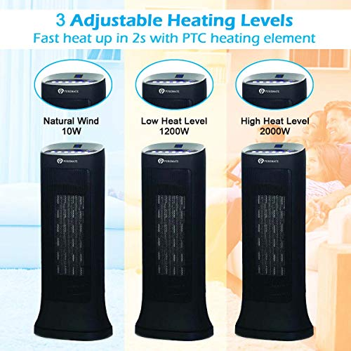PureMate Fan Heater, Ceramic Tower Fan Heater with Digital LED Display, Built-in Thermostat , 2 Heating Levels (2000W / 1200W), Automatic Oscillation, 0-8H Timer & Remote Control, Safety Protection