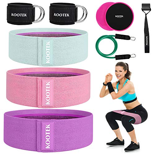 Kootek Resistance Bands for Women 260lb Fabric Booty Bands, 11 Pcs Resistance Legs and Butt with 3 Levels Workout Bands, 2 Core Sliders, 2 Ankle Straps for Cable Machine, Home & Gym Fitness