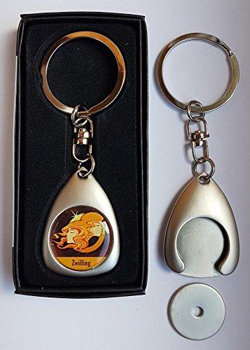 1 edler Schlüsselanhänger inkl. 3D-Aufkleber - silber matt - inkl. Einkaufswagen-Chip