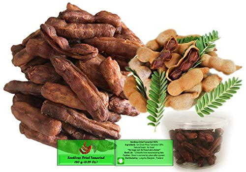 Seedless Fresh Dried Real Fruit Tamarind See-Chom-Phoo Little Sour and Sweet Small Pieces 150 Gram (5.29 Ounce)