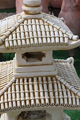 DEGARDEN Figura Decorativa Pagoda Oriental de Piedra para jardín o Exterior 52cm.Ocre