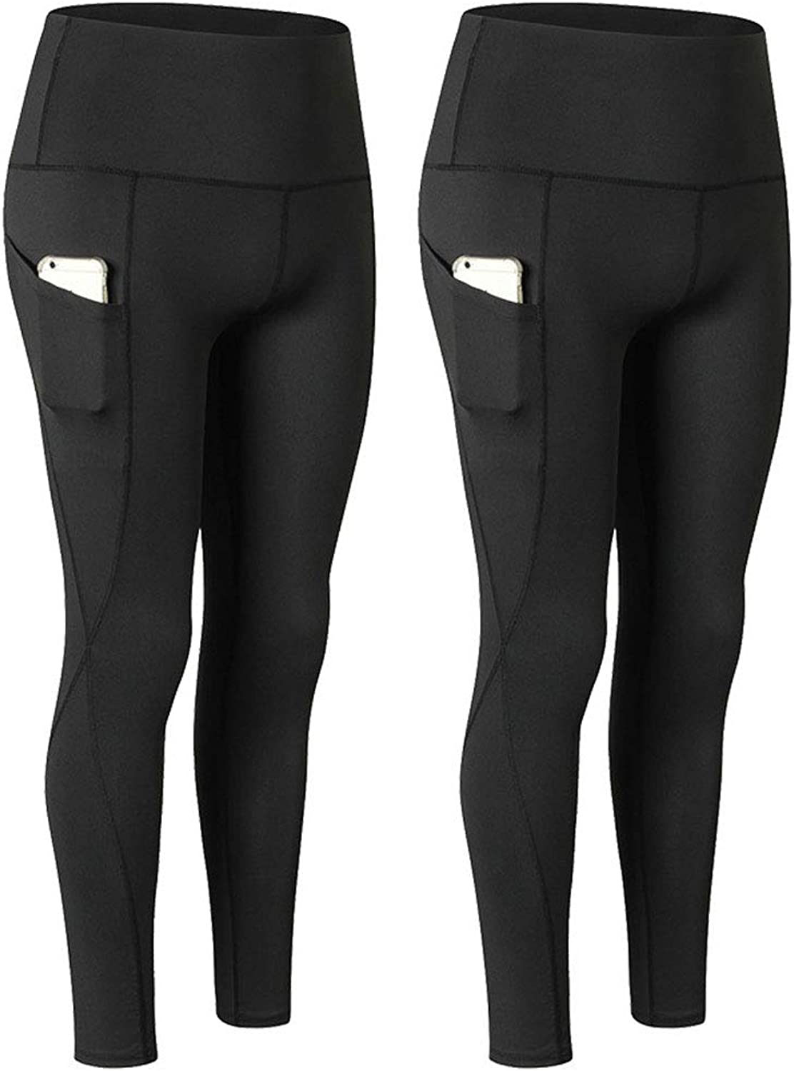 LANBAOSI Yoga Pants with Pockets, High Waist Tummy Control Workout Leggings for Women 2 Pack