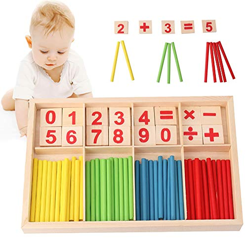 Sunshine smile Mathe Spielzeug rechenstäbchen,Montessori Spielzeug Mathe,mathematisches Spielzeug Holz,zählstäbchen Montessori,Montessori Spielzeug Zahlen,pädagogisches Mathe-Spielzeug (A)
