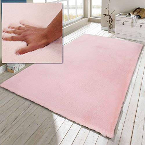 VIMODA Kunstfell Teppich Imitat in Rose Dicht Flauschig Seidiger Glanz, Maße:80x150 cm