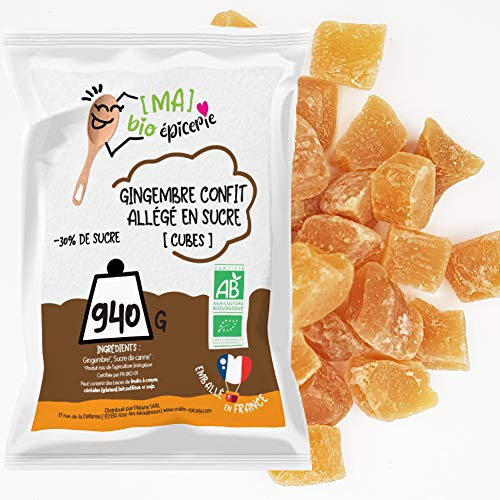 [MA] bio-épicerie | Gingembre confit allégé en sucre BIO en cubes | 940G | Sachet vrac | Certifié biologique | Fruit confit de qualité supérieure | Sans conservateur