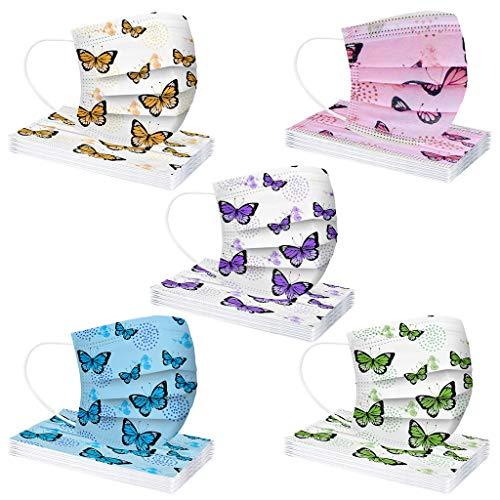G1OO 50/100 Stück Kinder Einweg Mundschutz Vliesstoff 3-Lagig mit Schmetterlings Druck Atmungsaktive Staubdicht Mund und Nasenschutz Halstuch für Jungen und Mädchen