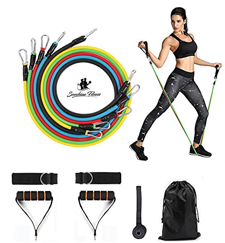 Sunshine Fitness Resistance Bands Set - Full Body Elastic Workout Exercise for Women and Men - Portable Gym with Door Anchor Foam Handles and Ankle Straps - Stackable Tension Tube for Yoga, Pilates