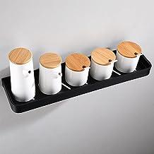 Keukenrek, badkamer opbergrek, zwarte hangende haak, aan de muur gemonteerd keukenrek opknoping rod ruimte aluminium schar...