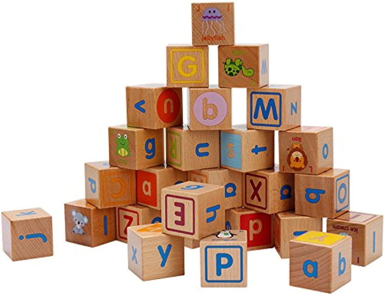 Faironly Kids Wooden 26 Alphabet Blocks Educational Toy
