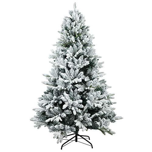 TOLEAD-Räumungsausverkauf-180cm beflockter künstlicher Weihnachtsbaum mit Schnee, Tannenbaum mit faltbarem Metallständer, 1080 Spitzen, für Feiertagsdekoration, einfache Montage