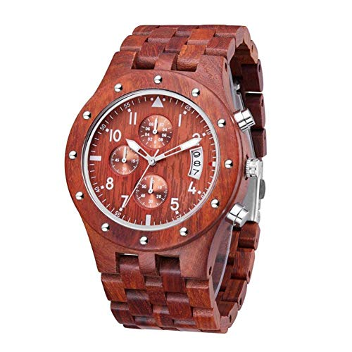 WRENDYY Holzuhren Herren All-Holz-Multifunktions-Sportuhr Red Sandalwood Watch Sportuhr