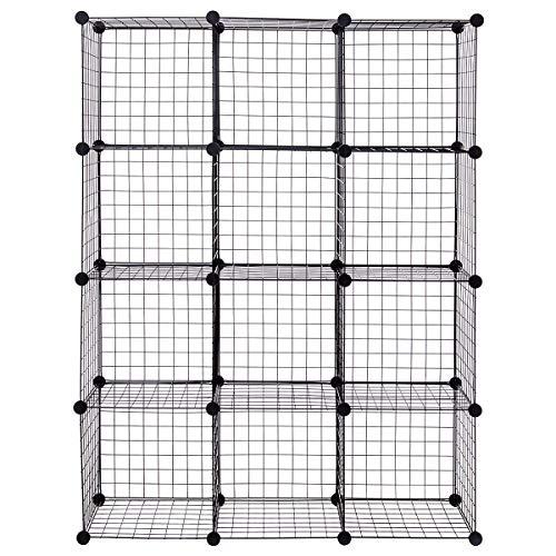 COSTWAY 6/8/12 Metal Wire Cube Storage Shelf Rack DIY Grid Wire Mesh Display Bookcase Closet Cabinet Organiser Shelves (Black, 110 x 37 x 145cm)