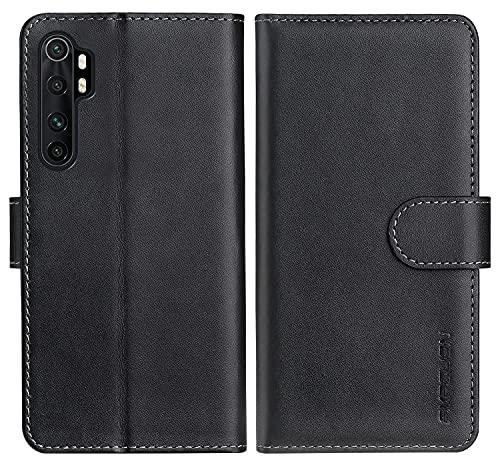 FMPCUON Funda Compatible con Xiaomi Mi Note 10 Lite 5G, Premium Flip Billetera Carcasa de Cuero - Cover con Soporte y Ranura para Tarjeta, Slim Case Tapa Cubierta Protectora Trasera Caso, Negro