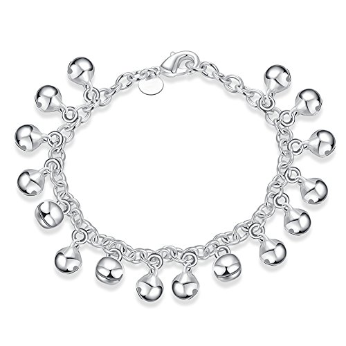 Goldenchen Fashion Jewelry 925 Silver Plated Adjustable Bells Chain Bracelet/Anklet for Women Girls