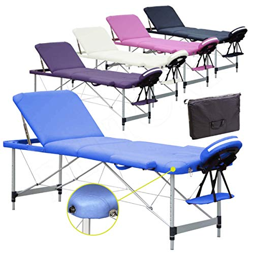 Lettino per Massaggi 3 Zone Alluminio 195x70 Cm Portatile Pieghevole Angoli Arrotondati Rinforzati Blu